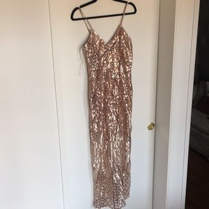 Rose gold Sequin Maxi Dress from Showpo